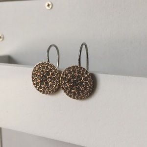 Fossil Rose Gold and Crystal Drop Earrings